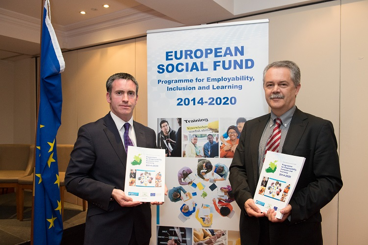 Damien English, TD former Minister for Skills, Research and Innovation and Zoltan Kazatsay, former Deputy Director General of Employment, Social Affairs and Inclusion in European Commission at the launch of the Programme for Employability Inclusion and Learning 2014-2020.