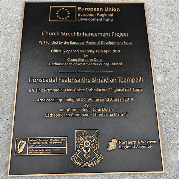 Church Street Enhancement Project Plaque Athlone