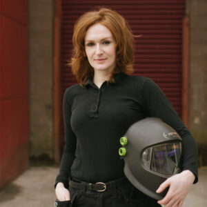 Donegal ETB welding student Laura Mulkeen holding welding helmet Photo Credit: Ruth Connelly