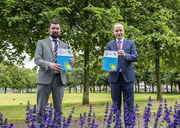 An Taoiseach, Micheál Martin TD and Minister of State with responsibility for Community Development and Charities, Joe O'Brien TD